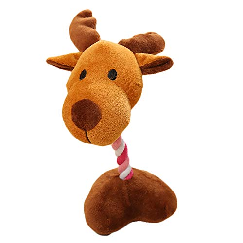 NINIWA Dog Plush Toy Pet Squeaky Bite Chew Toys with Base Toy Tough Dog Squeaky Toy Cute Dog Teething Toy for Medium Small Dogs Reindeer Shape