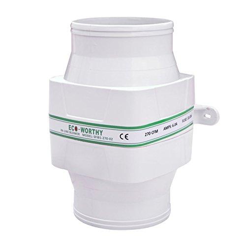 ECO-WORTHY in-Line Ventilador de sentina 12 V Flujo de Aire Ventilador de refrigeración 270 CFM Alta Capacidad Silencioso bajo Amp