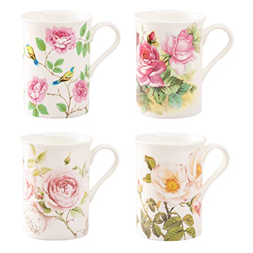 Grace Teaware Bone China Coffee Tea Mugs 9-Ounce, Assorted Set of 4 (Rose Petal Garden)
