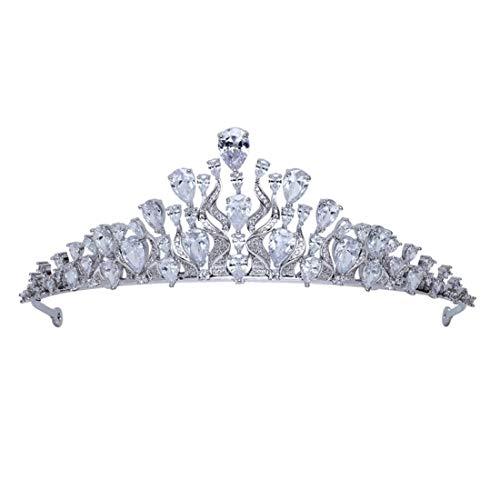 SUIWO Princess Crown Gems Rhinestone Tiara Kid Girl Prom Birthday Prinecess Party Headband Jewelry Micro-inlaid Zircon Crown Bridal Tiara Wedding Accessories Headband Jewelry (Color : Silver)