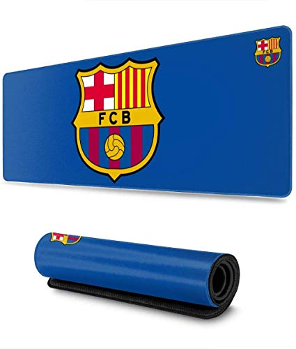 Overwatchs Alfombrilla de ratón Grande con Logotipo del FC Barcelona, Alfombrilla Cosida, Bordes Ultra Gruesos de 3 mm, Alfombrilla Ancha y Larga de 31,5 x 11,8 Pulgadas