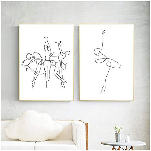 WENJING abstracte ballerina afdrukken lichaam tekening kunst canvas schilderen zwart wit kunstwerk afbeelding dans poster meisjes kamer wanddecoratie 40X60Cmx2 stuks geen lijst