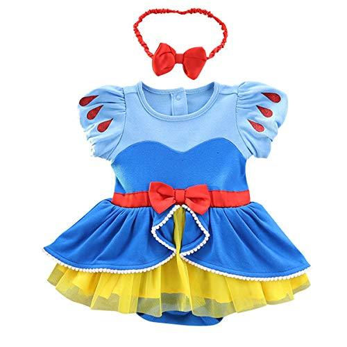 MYRISAM Christmas Costumes for Baby Toddler Girls Snow White Princess Birthday Bodysuit Romper Tutu Dress w/Headband 9-12M