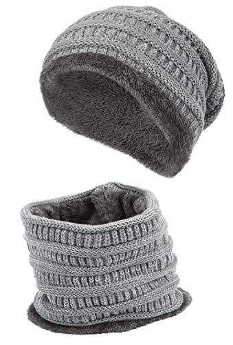 CityComfort muts en sjaal voor dames en heren, warme gebreide muts voor winter, beanie en halswarmer, met zeer zachte fleece binnenvoering, leuk cadeau voor vrouwen en volwassenen