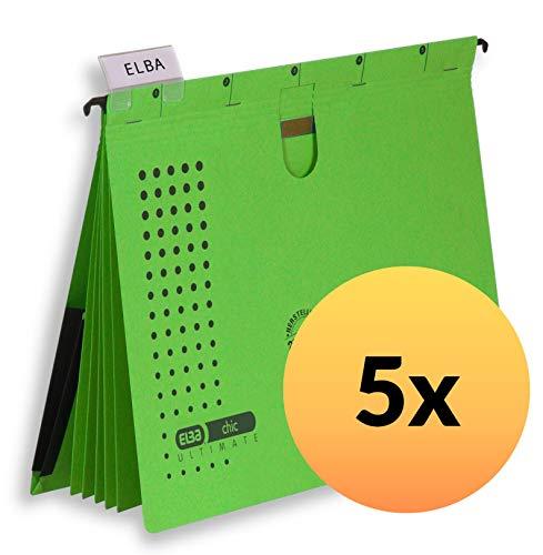 ELBA 100333014 Mehrfach-Hängehefter chic ULTIMATE 5er Pack aus Recycling-Karton für DIN A4 mit 5 Trennblättern und Heftungen Inenntasche am Rücken in grün
