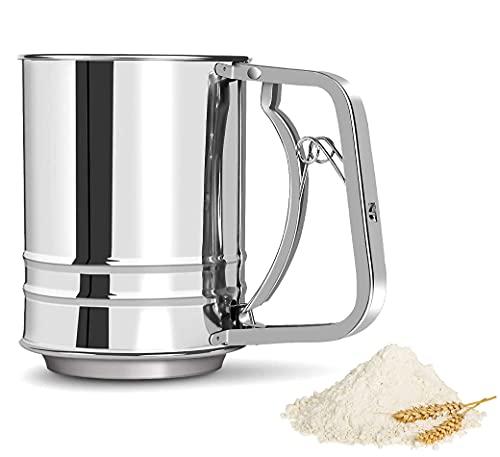 Tamiz de harina de acero inoxidable | Tamiz de harina manual de doble capa | Tamiz de herramientas para hornear pasteles | Suministros de cocina | Para cacao en polvo, azúcar en polvo, etc. (plata)