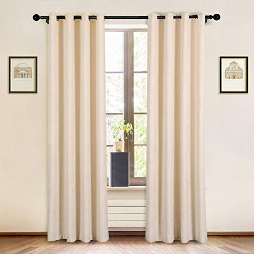 """Beige Double-Sided Chenille Curtains for Living Room Modern Window Treatment for Bedroom Curtain,Grommet Top-2 Panels (Beige, 52"""" W x 84"""" L)"""