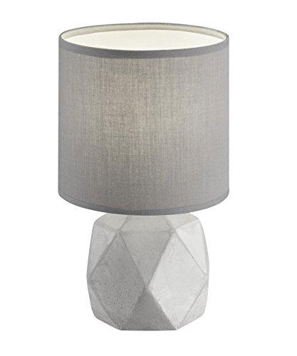 Reality Leuchten R50831087 Pike, Tischleuchte, Keramik, E14, 16 x 16 x 28 cm, Schirm Grau