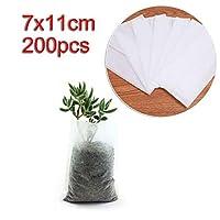 庭の灌漑 工場では、植栽バッグ農業ツール苗育て200pcsの生分解性不織布保育園バッグ (Size : 7x11CM)
