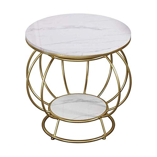 LYYJIAJU Small Coffee Tables Living Room Best Choice Product Round Marble Surface Metal Coffee Table, Golden Metal Decoration, Suitable for Home, Living Room, Dining Room
