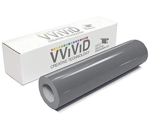 "VViViD Dark Grey Gloss DECO65 Permanent Adhesive Craft Vinyl for Cricut, Silhouette & Cameo (7ft x 11.8"" Roll)"