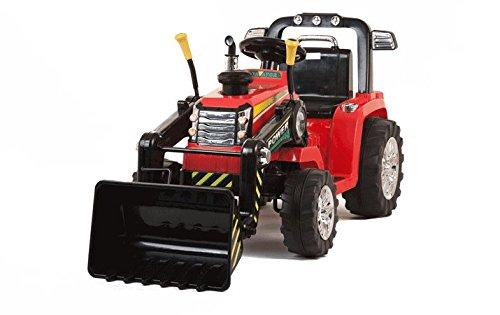 Traktor für Kinder mit Schaufel Bagger Bagger Elektro 12V mit Fernbedienung Rot