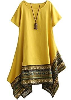 Minibee Women s Ethnic Cotton Linen Short Sleeves Irregular Tunic Dress  M Yellow