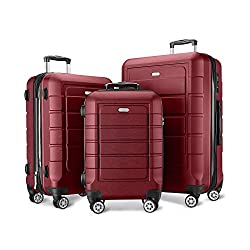 SHOWKOO Luggage Sets Expandable PC+ABS Durable Suitcase Double Wheels TSA Lock 3pcs Red Wine