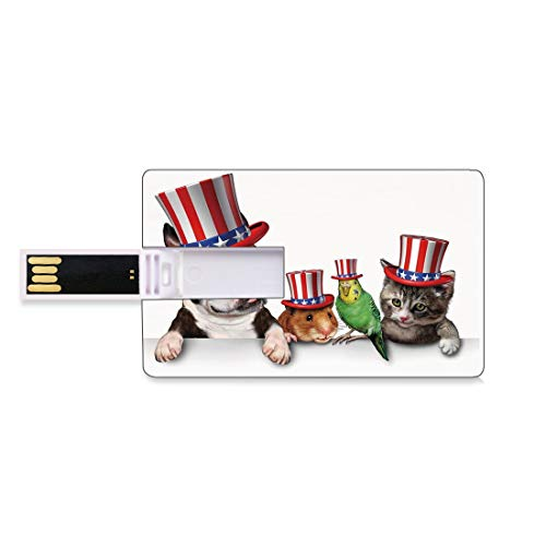 8GB USB-Flash-Thumb-Laufwerke Vierter Juli Bank Kreditkarte Form Business Key U Disk Memory Stick Speicher Niedlicher Haustier-Tierhundekatzen-Vogel und Hamster mit dem amerikanischen Hut-Feier-Bild