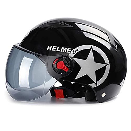 ZLYJ Casco de Moto Abierto Media Cara Casco con Visera Solar Certificado ECE 56-60cm Casco de Protección para Moto Scooter Bicicleta Scooter Unisex Casco Medio Protectora