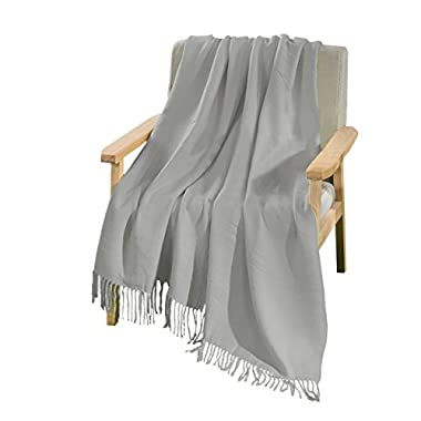 HollyHOME Throw Blanket Light Grey 50x60 inches Luxury Soft Microfiber All Season Blanket with Tassels, Ideal for Bed or Couch