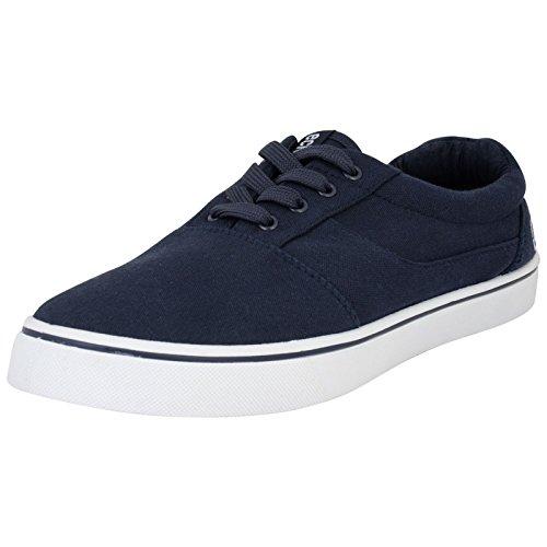 Ecko Herren Low Canvas Schuhe Casual Plimsole Sneaker Schwarz Grau Blau, Blau - Navy - Größe: 39 1/3 EU