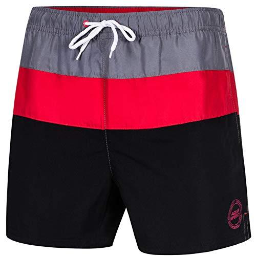 Aqua Speed Badehosen für Herren | Schwimmhose Männer | Badeshorts mit Taschen | Schwimmbekleidung Baden | Men Swimwear Pool | Swimming | Beach Shorts | Gr. XL, Schwarz - Rot | Travis