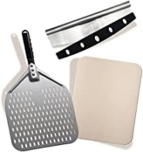 Pizza Peel Pizza Stone and Rocker Cutter The perfect pizza set contains Anodized Aluminum Pizza Paddle 12x14 inch Pizza Stone 12x15 inch and Roker Cutter for your home made pizza or bread by Q's INN.