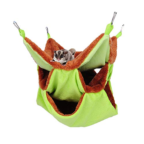 Yu-Xiang 3 Layer Hamster Hammock Solid Color Sugar Glider House Plush Tunnel Sleeping Bag Small Animal Hammock for Guinea Pig Rat Birds Parrot Gerbil Squirrel (Green)