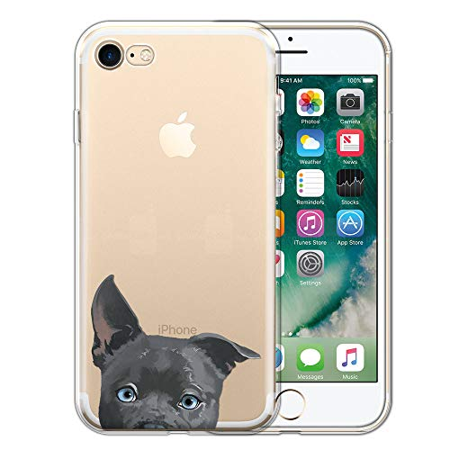 FINCIBO Case Compatible with Apple iPhone 7/8 4.7 inch/iPhone SE 2020, Clear Transparent TPU Protector Case Cover Gel for iPhone 7/8 / SE (NOT FIT 7 Plus) - Silver American Pit Bull Puppy Dog