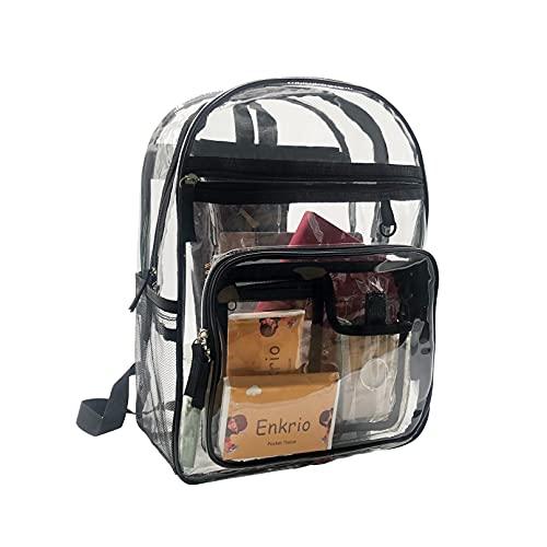Enkrio Klar ryggsäck för kvinnor män, reseryggsäck, avslappnad bärbar ryggsäck, vattentålig resedagsväska, skolryggsäck ryggsäck för camping, stadion