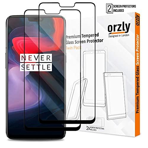 Orzly OnePlus6 Bildschirmschutzfolie (2 Stück/Doppelpack) Pro-Fit (Vollständige Abdeckung) Panzerglas Hartglas Bildschirmschutzfolie aus Gehärtetem Glas für das OnePlus 6
