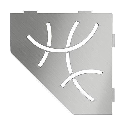 Schluter Systems Pentagon Corner Shelf-E - Curve Design - Brushed Stainless Steel (SES2D6EB) - Kerdi-Line Shower Acessory