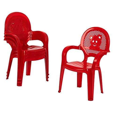 Chaise en plastique - pour jardin/extérieur - pour enfant - rouge - meuble pour enfant - lot de 4
