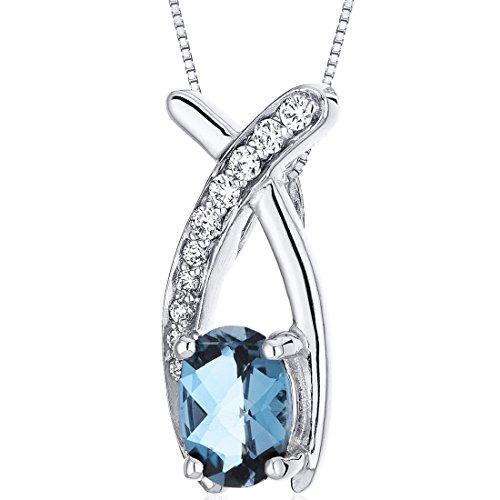 London Blue Topaz Pendant Necklace Sterling Silver Oval Shape 0.75 Carats