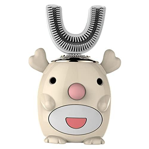 perfeclan Cepillo de dientes eléctrico para niños Cinco modos inteligentes Limpieza de 360 ° en forma de U Diseño impermeable Cepillos de dientes automáticos - Ciervo amarillo