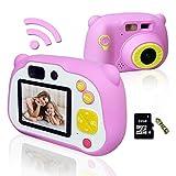 WiFi de la cámara digital for niños HD 1080P mini videocámara 12MP con delantera y trasera de la cámara selfie 2 pulgadas de pantalla de enfoque automático for Age 3-14 con 32 GB tarjeta Micro SD