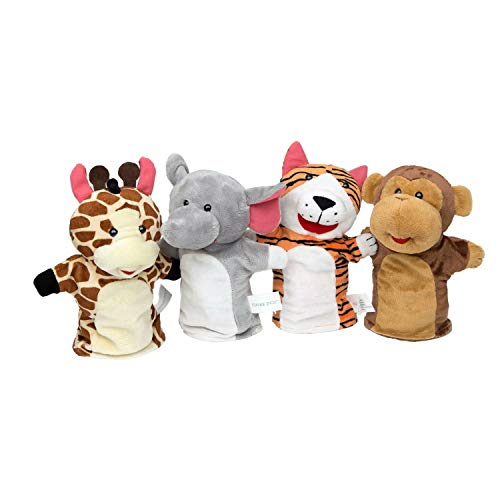 Imaginative Play Hand Puppets Set -Elephant, Tiger, Giraffe, Monkey Plush Animal Toys for Kids Babies and Toddlers