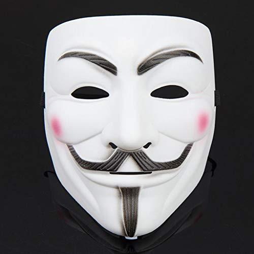 MIHLOWW Volwassen Maskers Halloween Kostuum Cosplay Party Horror Mask Rare Ghost Dance Kunststof Nep Gezichtsmasker voor Mannen V Gezicht Wit