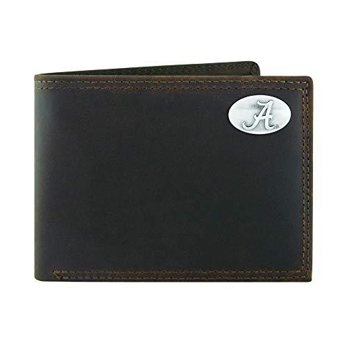 NCAA Alabama Crimson Tide Light Brown Crazyhorse Leather Bifold Concho Wallet, One Size