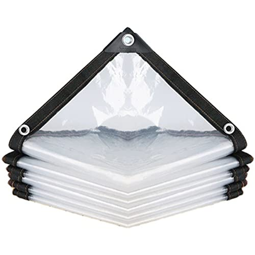 AWSAD Lona Transparente Lona de PVC Resistente al Desgarro Toldos de PVC Impermeables con Ojales Alta Transparencia para Piscina, Coche, Camión (Color : Transparent, Size : 1.8x2m)