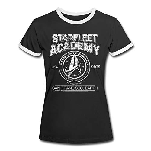 Star Trek Discovery Starfleet Academy Frauen Kontrast T-Shirt, XL, Schwarz/Weiß