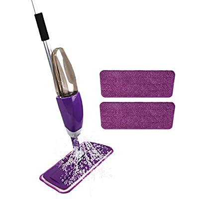 Microfiber Spray Mop with 2 Washable Mop Pads a...