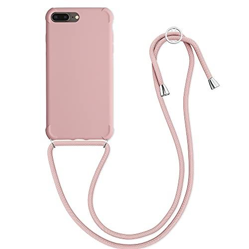 kwmobile Cover a Tracolla Compatibile con Apple iPhone 7 Plus / 8 Plus - Back Case in TPU con Laccio per Il Collo - Custodia con Cordino