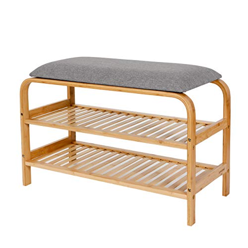 Lumaland Schuhregal aus Bambus mit Sitzbank + 2 Ebenen - 69,5x30x45 cm Grau