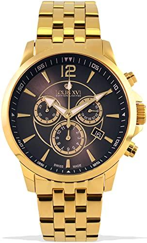 LOUIS XVI Athos 1053 - Reloj de pulsera para hombre, correa de acero, color dorado y gris, cronógrafo, analógico, cuarzo, acero inoxidable
