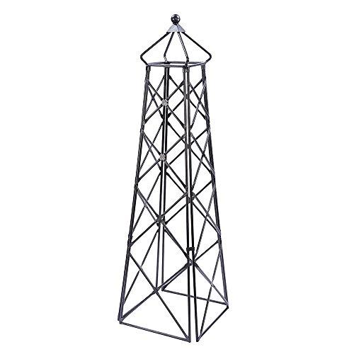 Achla Designs OBL-25 Lattice Wrought Iron Garden Obelisk Trellis, Graphite