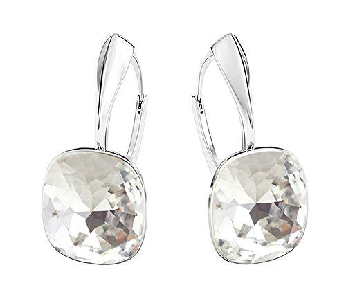 Crystals & Stones NEUHEIT - SQUARE - Tolle Ohrringe - FARBE VARIANTEN !! - Silber 925 Schön Damen Ohrringe mit Kristallen von Swarovski Elements - Wunderbare Ohrringe !! (Crystal)