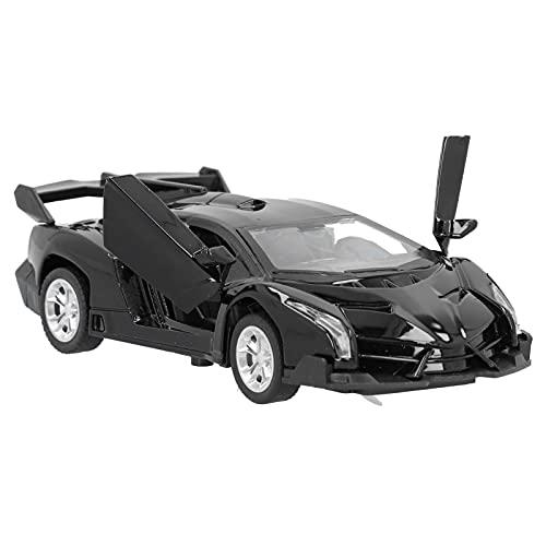 Zerodis Coche de Juguete Modelo de Aleación Veneno, 1:34 Simulación de Mini Vehículos de Tracción con Luz y Sonido para Niños y Niñas(Negro)