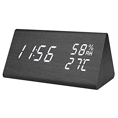 WFSH Reloj de Alarma Digital Pantalla de triángulo electrónico LED Tiempo de Madera Temperatura Digital Reloj de Alarma Digital Reloj de Mesa con Fecha de Voz Temperatura y Control de Humedad