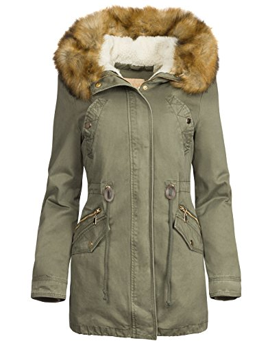 3 in 1 Damen Winterjacke Baumwolle Teddy Fell Military Style Cotton Parka Mantel, Größe:S, Farbe:Olive
