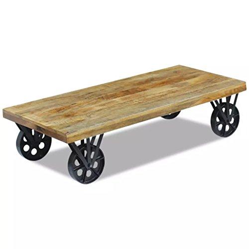 Lingjiushopping Table de Basse en Bois de Mango 120 x 60 x 30 cm entièrement Fait a Main Material : Bois de Manche Acier Fort