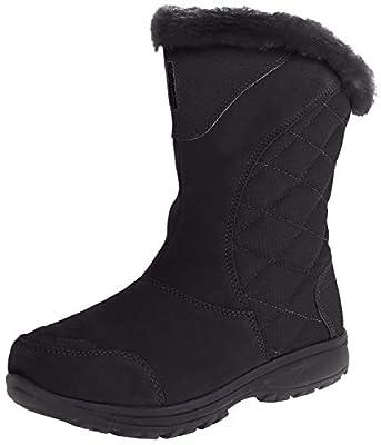 Columbia Women's ICE Maiden II Slip Snow Boot, Black, Shale, 9 B US