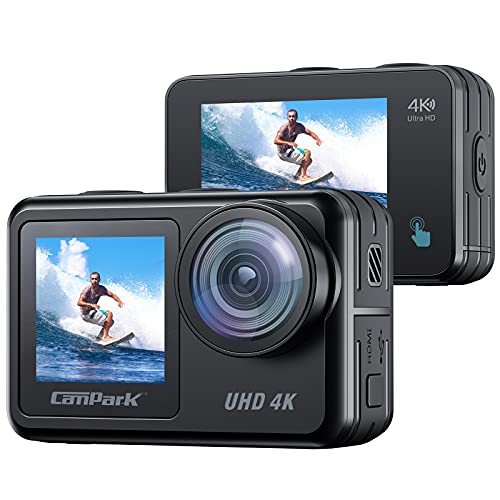 Waterproof Action Camera 4K 20MP Campark 131 Feet Underwater Camera Camcorder Dual Screen WiFi Touch Screen Vlog Camera EIS Remote Control Sport Camera with 2X 1350mAh Batteries and Accessories